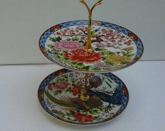 Imari Japanese 2 Tier Jewellery Plate Stand