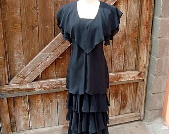 Vintage Justin David New York Black Tiered Dress Size 8