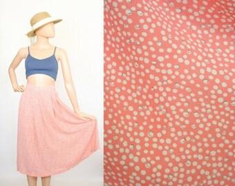 Vintage Midi Skirt / High Waisted / Pleated A-line / Peach Dot Print/ Small / Medium