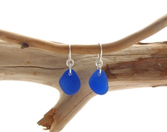 Fancy Ear Wire with Cobalt Beach Glass/Sea Glass