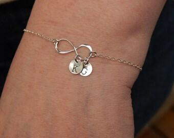 Personalized Infinity Bracelet, Infinity Bracelet With Initials, Best Friends Bracelet, Friendship bracelet, Bff, sideways infinity