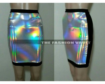 Iridescent High Waist holographic Pencil skirt Loving hologram Clubwear Irridecent