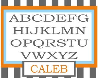 Personalized Alphabet Placemat - Alphabet Place Mat - Personalized Modern Placemat - Modern Alphabet