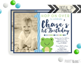 Frog Invitation - Digital or Printed | Frog Printables | Frog Birthday Party Invitation | Green Frog Invitation | Frog Themed Birthday