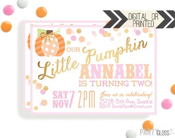 Pumpkin Invitation | Digital or Printed | Pumpkin Party | Glitter Pumpkin Invite | Girly Pumpkin | Gold Glitter Invitation | Little Pumpkin