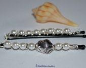 White Small Shell Hair Accesories -Pair of Bobby pins- Beach Wedding White Pearls