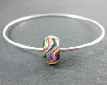 Bangle Bracelet, Simple Bracelet Colorful Glass Bracelet, Hammered Sterling Silver Bracelet, Lampwork Stacking Bracelet, Blue Yellow Pink