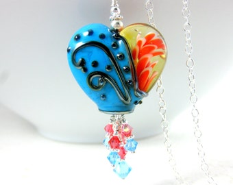 Heart Necklace, Fire & Ice Necklace, Turquoise Blue Coral Necklace, Lampwork Necklace, Crystal Dangle Necklace, Glass Statement Necklace