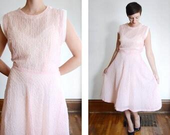 1950s Sheer Pink Dress - M/L