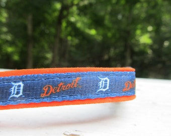 Detroit Tigers Cat  or Small Dog Collar with Option of Orange or Pink Backing