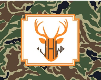 Deer and Camouflage Folded Notecard Set with Monogram