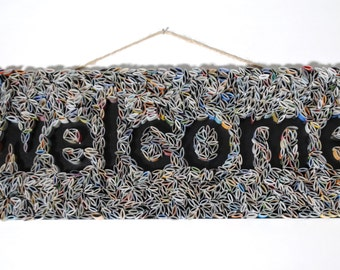 WELCOME sign wall art- made from recycled magazines, colorful, unique, modern, bright, sign, kitchen
