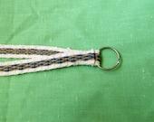 Tablet Weaving Lanyard/Key Chain - White, Blue, Tan