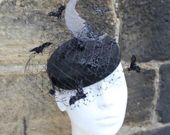 Black felt pillbox with glitter half moon and a veil with flying bats Halloween