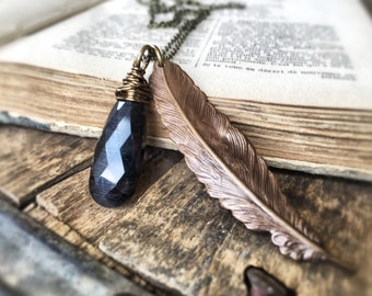 Black Quartz Gemstone Feather Necklace -Black Cats Eye Quartz - Antiqued Brass Feather Charm Necklace - Bohemian Jewelry - Free Shipping