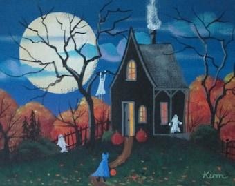 Happy Haunting Folk Art Halloween Print
