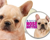 French Bulldog ORIGINAL NOSE BUTTER® Balm for Dry Crusty Frenchie Dog Noses 1 oz tin Your Choice of 5 Different Frenchie Labels in Gift Bag