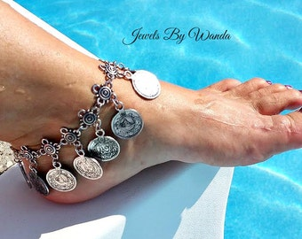 Bohemian Gypsy Style Ankle Bracelet - Silver - Clearance Sale, Reduced Price. Half Price Sale