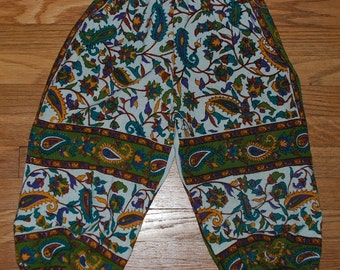 Kids Hippie Harem Pants- Green yellow tan Paisley- Loose elastic at ankle- Size 4 - Boys or Girls