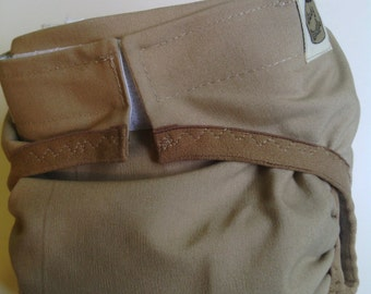 Waterproof PUL Diaper cover Tan soft brushed Cotton size Medium