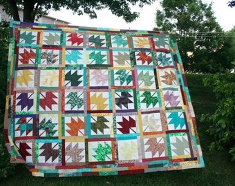 Stunning Autumn Maple Leaf Quilt Top