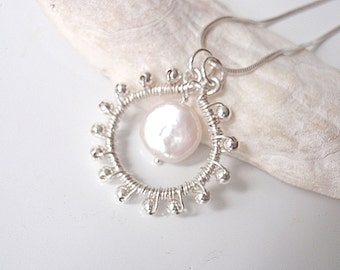 Pearl and Silver Pendant, Wedding Necklace
