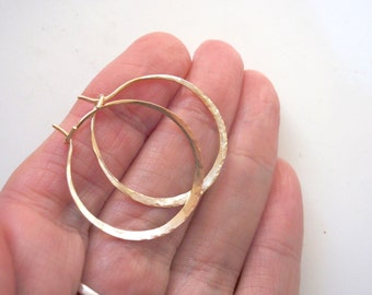 Gold Hoop Earrings Pure 14k Yellow Gold Hammered 1 Inch