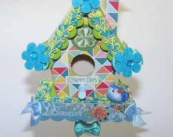 Birdhouse, Home Decor, Teal, Blue, Time to Flourish, Happy Days, Birds, Bird Lover, Get Well, Gifts for Her, Gifts for Him, Sunshine, Smiles