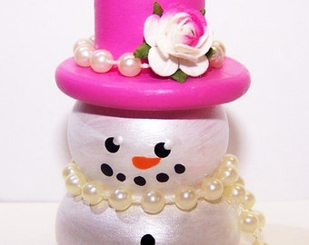Snowman, Hot Pink, Top Hat, Rose, White Pearl, Snow, Winter, Christmas Ornament, Ornament Exchange, Holiday, Holiday Decor, Home Dedor, Tag