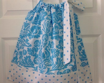 READY TO SHIP Blue Damask Pillowcase Dress Size 2