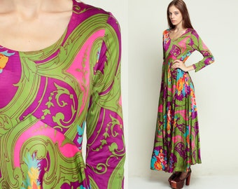 Hippie Maxi Dress 70s Floral Print Boho Gown PSYCHEDELIC 1970s Empire Party Bohemian Vintage Formal Long Sleeve Full Length Small Medium