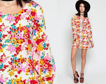 Floral Babydoll Dress 60s Mod Mini Pink Red Empire Waist 70s Vintage Dolly Gogo Print 1960s Sixties Long Sleeve Flower Print extra Small xs