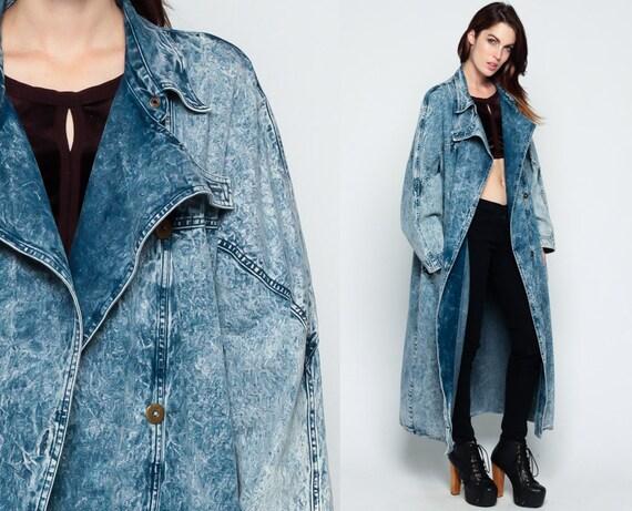 Acid Wash Denim Jacket 80s Jean Trench Coat Oversized Jacket