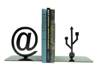 At Symbol and USB Symbol Metal Art Bookends - FREE USA Shipping