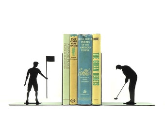Golfer Metal Art Bookends - Free USA Shipping