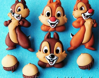 CHIP AND DALE - Disney Chipmunk Rescue Rangers 'n' Children Acorn Dress It Up Craft Buttons