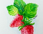 Very berry strawberry, original watercolor painting 5x7, ready to frame