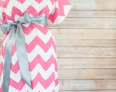 Pink Chevron Maternity Delivery Gown, Robe, Headband, and Burp Pad Bundle- Set to make your delivery Picture Perfect!