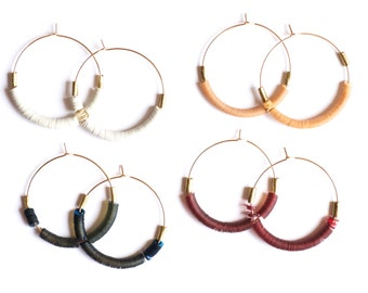 Portal Earrings - Vintage sequin and hand formed gold filled hoops