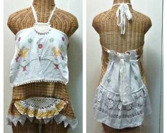 Prairie Chicken Top Size Medium Large Boho Halter Folk Art Hippie Primitive Country Womens Vintage Embroidered Linens Crochet Homespun Gold