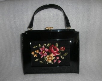 Womens  Needlepoint-Black Shinny  Patent Leather Auth Caprice