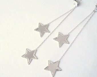 Silver Long Star Earrings