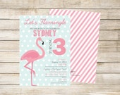 Flamingo Pink and Aqua Birthday Party Invitation with optional Thank You card bonus double sided design - Print Your Own