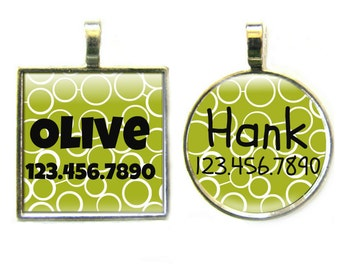 Modern Green Circles Custom Silver Pet ID Tag