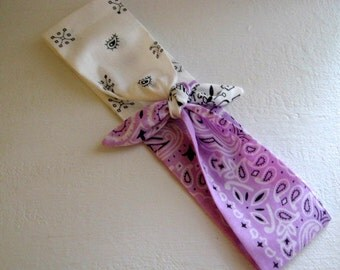 VeryCuteHeadbands, Unique Pinup Bandana, Rockabilly Hair, Tie On Headband, Tie up Hair Scarf, Lavender n White, Hair Accessories,  #203