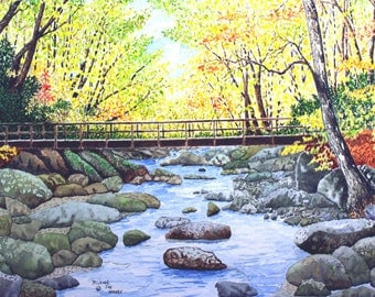 Smoky Mountain Fall Delight Print from the  Original Watercolor by Michael Joe Moore