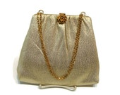 Vintage Gold Fabric Chain Handle Evening Bag Gold Evening Purse Vintage Evening Bags Purses Vintage Purses And Handbags Formal Handbags