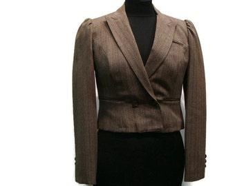 Vintage Brown Pinstrip Crop Blazer Womens Cropped Blazers Vintage Blazers Women Striped Womens Blazer Brown Blazer For Women Crop Jackets
