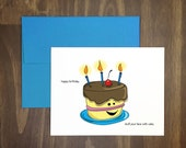 happy birthday card / stuff your face with cake / delicious frosted greeting / blank inside / hand illustrated / original artwork