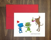 birthday card / couple of real party monsters / silly greeting for fun friends / party animals / friendship / 21st birthday / blank inside
